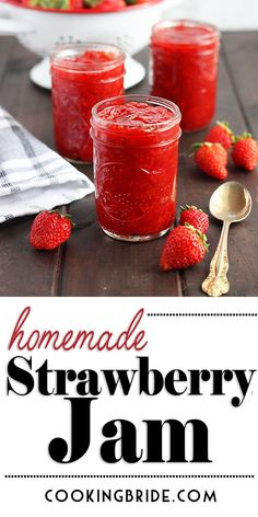 Basic Homemade Strawberry Jam After making your first batch of homemade strawberry jam, you'll never buy store bought again. It's surprisingly easy and the flavor simply doesn't compare. Homemade Strawberry Jam, Strawberry Jelly, Strawberry Recipes, Best Strawberry Preserves Recipe, Strawberry Jam Recipe Without Pectin, Making Strawberry Jam, Jelly Recipes, Baby Food Recipes, Dessert Recipes