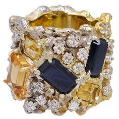Arthur King Gold, Diamond, Sapphire and Citrine Ring