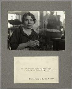 An Italian clothing worker in factory in Rochester,N.Y., 1915