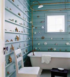 nautical Bathroom Decor NAUTICAL BATHROOM IDEAS Calm and bright. Those are two positive attributes from a nautical bathroom style that deserves your experiment. Seashell Bathroom, Bathroom Decor, Tropical Bathroom, Nautical Bathrooms, Chic Bathrooms, Bathroom Design Small, Blue Bathrooms Designs, Beachy Bathroom, Bathroom Design