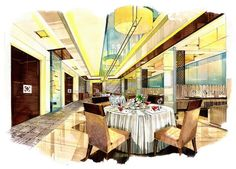 Grand Four Wings Convention Hotel Best Interior Design Websites, Interior Design Colleges, Interior Design Sketches, Restaurant Interior Design, Commercial Interior Design, Bathroom Interior Design, Interior Doors, Sketch Design, Restaurant Plan