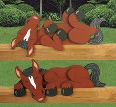 Set of 2, Sleepy #Horses Fence/Shelf Decoration