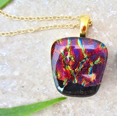 Fused Glass Pendant with 18 inch Gold Filled Chain- Ember Glow   CaronArtGlass - Jewelry on ArtFire