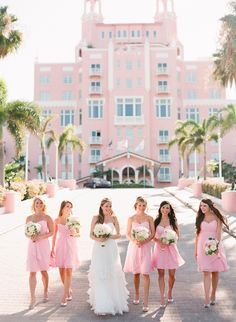 Don Cesar: Florida Wedding at the Pink Castle. Not necessarily the castle thing, just the dresses. But the castle is a nice touch.