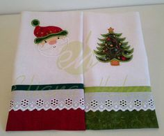 Panos de prato Natal Christmas Towels, Christmas Sewing, Christmas Crafts, Christmas Decorations, Sewing Crafts, Sewing Projects, Sewing Room Organization, Embroidered Towels, Applique Templates
