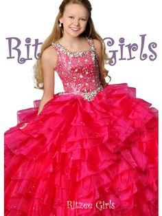 Long Pageant Dress Ritzee Girls 6796 | Ball Gown Pageant Dress For Girls