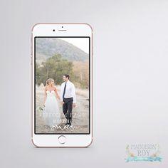 Wedding Day Snapchat Geofilter ~ Personalised Customised Names ~ Digital Download ~ Rustic Vintage Floral Filter