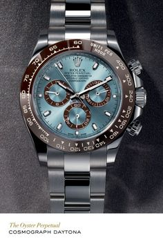 Rolex Cosmograph Daytona in platinum with a chestnut brown monobloc Cerachrom bezel in ceramic, an ice blue dial and Oyster bracelet.