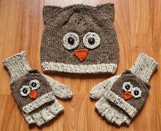 """Ravelry: """"Care to Cuddle?"""" Koala and Owl Animal Hat and Fingerless Mitten Set in Girls and Adult Sizes pattern by Lauren Riker Crochet Gloves, Crochet Yarn, Knitted Hats, Booties Crochet, Animal Hats, Owl Animal, Knitting Patterns Free, Crochet Patterns, Lion Brand Wool Ease"""