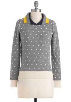 Lauren Moffatt Double the Dots Sweater - Mid-length, Grey, Tan / Cream, Polka Dots, Casual, Long Sleeve, Menswear Inspired, Scholastic/Collegiate