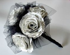 Paper Rose Bouquet with 8 3 1/2 inch roses, 8 inch diameter, accented with tulle, stems wrapped in  ribbon, Your color choice, Made to Order on Etsy, £46.26