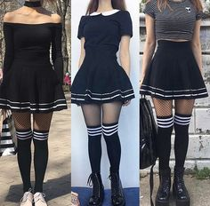 Korean Fashion – How to Dress up Korean Style – Designer Fashion Tips Edgy Outfits, Mode Outfits, Grunge Outfits, Grunge Fashion, Skirt Outfits, Fashion Outfits, Knee Socks Outfits, Knee High Socks Outfit, Dress Socks
