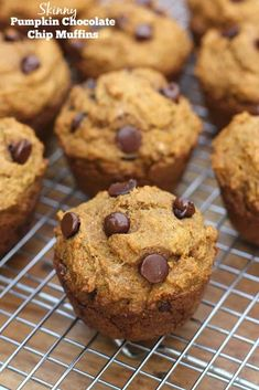 Skinny Pumpkin Chocolate Chip Muffins are delicious, soft and tender healthy pumpkin chocolate chip muffins. Just over 150 calories each!