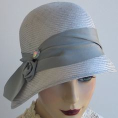 Straw Cloche Hat Silver Gray Women Spring by katarinacouture