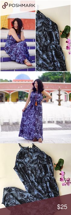 {LOFT} Floral Maxi Summer-ready! Blue & navy floral maxi by LOFT. Size XSP. Keyhole neck. Single-button closure in back. Very slight hi-low hem. Zero flaws. *Guaranteed same or next day shipping!* *BUNDLE for a discount!* LOFT Dresses Maxi