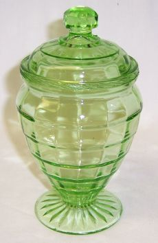Hocking Glass Green BLOCK OPTIC Depression 6 by StraitsAntiques, $70.00