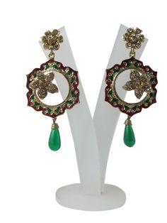 Amazon.com: Dangle Earrings 1gm Gold Plated Green Red Stone Kundan Chandeliers: Tarini Jewels: Jewelry