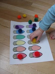 Christmas Lights Pom Pom Color Match and other Christmas Activities at Tons of Fun