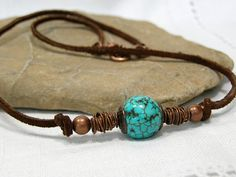 Mens Turquoise Leather Necklace  Native Tribal by StoneWearDesigns, $38.00