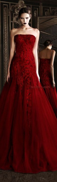 deep red gown