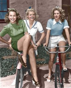 Women On Bicycles In 1940.
