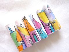 Paper colourful art beads little houses on tube by shelikesthis, based in Cambridge UK and selling on Etsy