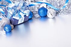 Silver and Blue Christmas Background with Gift