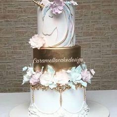 Pastel and Gold Unicorn Cake Cool Birthday Cakes, Unicorn Birthday Parties, Unicorn Party, Unicorn Cake Design, Little Pony Cake, Ballerina Cakes, Rosalie, Unicorn Cupcakes, Communion Cakes