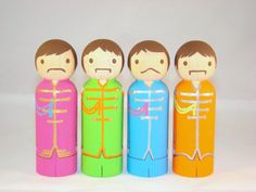 The Beatles Sgt Pepper Wood Peg Doll People by Pegged on Etsy