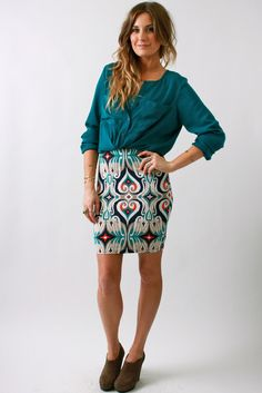 teal + ikat skirt