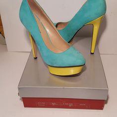 Breckelle's Chloe 6 inch Stilettos Pumps Platform  Women's Size 8 Mint Yellow  #Breckelles #Stilettos #Party