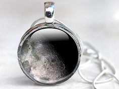 Space Jewelry Moon Art Glass Pendant Necklace by GlassCharmed, £12.99