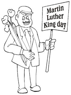 Martin Luther King Jr Flag March Coloring Kids | Coloring Pages ...