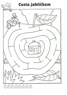 Pracovní listy Preschool Worksheets, Kindergarten Activities, Infant Activities, Activities For Kids, Fall Coloring Pages, Animal Coloring Pages, Mazes For Kids, Art For Kids, Maze Worksheet