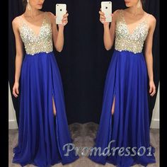 Pretty v-neck long prom dress, 2016 royal blue chiffon beaded prom dress with slit