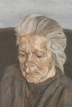 Lucian Freud The Painter's Mother IV 1973. Lucian Freud The Painter's Mother IV 1973. After 3 decades of absence, he took on his mother as a subject. When his father, Ernst died, in 1970, Lucy had attempted suicide. After this, she was no longer the sparkling, bright person she'd been, she became a shadow. In this condition, Lucian could tolerate his mother. He looked after her, but never flinched from expressing the fraught conditions of their relationship.
