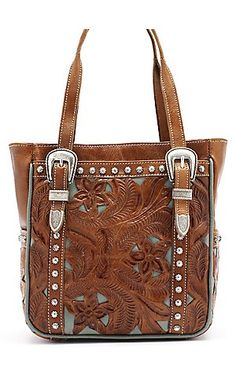 American West® Ladies Everyday Cowgirl Brown & Turquoise Leather with Buckles Handbag | Cavender's Boot City