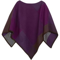 Babjades Suede-trimmed wool-blend poncho (40.810 RUB) ❤ liked on Polyvore featuring outerwear, purple, style poncho, purple poncho and color block poncho