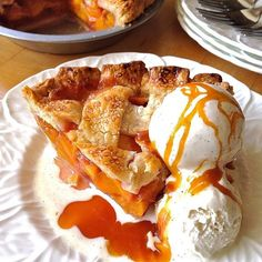 Peach Nectarine Pie with Salted Caramel Sauce
