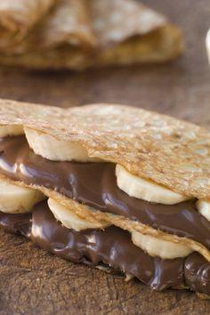 Chocolate-Banana Filled pancakes recipe