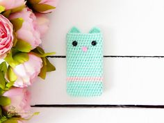 Cat. Girls phone case. Cat Lover Gift by MyKnittedAccessories
