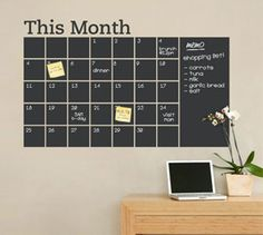 Simple Shapes - Chalkboard Calendar with Memo Wall Decal - Stay organized with the help of this chalkboard wall calendar. This calendar wall.