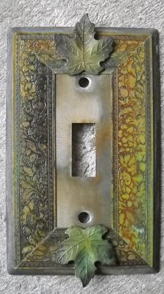 Hand Made VTG like Metal Patina SwitchPlate Leaves