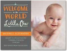 Boy Photo Birth Announcements Charming Welcome - Front : Mandarin Orange
