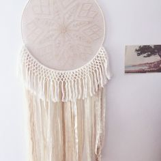 Large dream catcher with macrame style cotton fringe by ivie and letty Large Dream Catcher, Macrame, Trending Outfits, Unique Jewelry, Handmade Gifts, Cotton, Etsy, Vintage, Home Decor