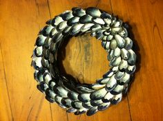 Mussel shell wreath--made by my mom:)