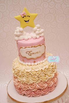 Pink and gold fondant star cake. Twinkle twinkle little star!