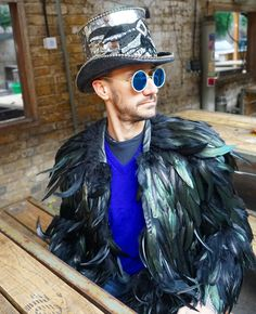 Shop Our custom made fashion Mens Feather Coat, an incredible couture feather jacket for Festival Wear, Burning Man Outfits, and Halloween Bird costumes. Burning Man Style, Burning Man Fashion, Burning Man Outfits, Festival Tops, Festival Wear, Festival Fashion, Indie Fashion, Mens Fashion, Fashion Hats