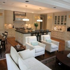 Great Room; kitchen, dining room, family room combo.  Maybe eventually we can take the kitchen walls down.
