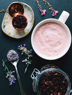 A soft pink & frothy night-time beverage with homemade pumpkin seed milk, tart cherry juice, hibiscus tea, and lavender syrup. Each ingredient aids in sleep and relaxation.